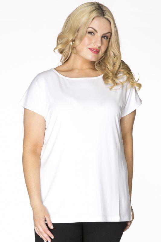 Yoek T-shirt kapmouw wit katoen