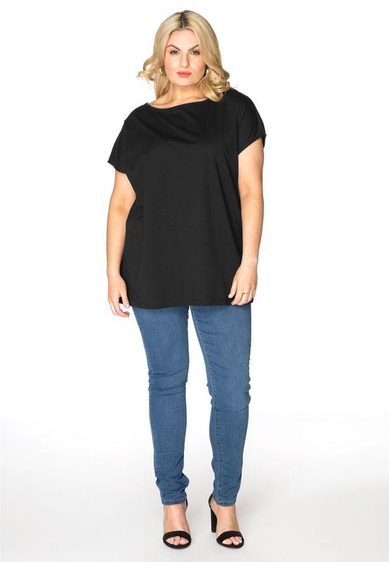 Yoek T-shirt kapmouw zwart katoen