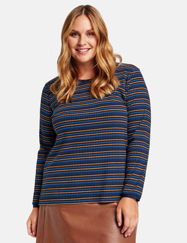 Samoon Shirt gestreept blauw bruin